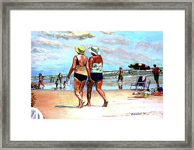 Two Women Walking On The Beach Framed Print by Stan Esson