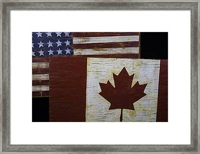 Two Wooden Flags American And Canadian Framed Print