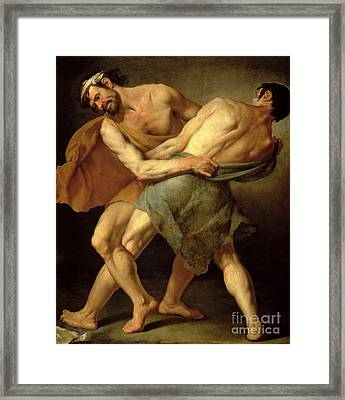 Two Wrestlers Framed Print
