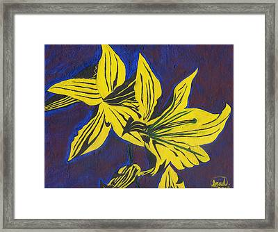 Framed Print featuring the painting Two Yellow Lilies by Saad Hasnain