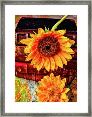 Two Yellow Sunflowers With Books Framed Print by Garry Gay
