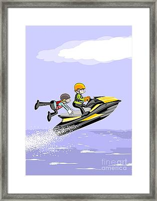 Two Young Friends Jump In The Sea On A Fast Jet Ski Framed Print
