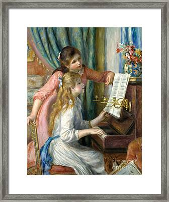 Two Young Girls At The Piano, 1892  Framed Print