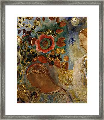 Two Young Girls With Flowers Framed Print by Odilon Redon