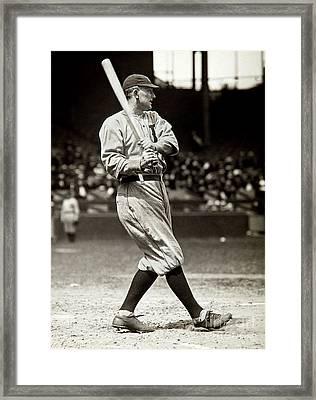Ty Cobb At Bat Framed Print by Jon Neidert