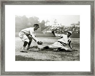 Ty Cobb Safe At Third  Framed Print by Jon Neidert