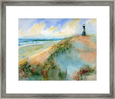 Tybee Dunes And Lighthouse Framed Print