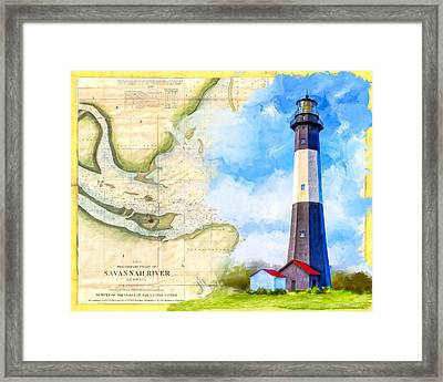 Tybee Island Light - Vintage Nautical Map Framed Print