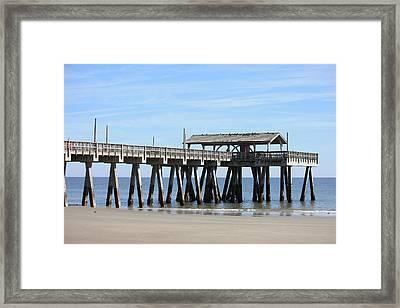 Tybee Island Pier Closeup Framed Print by Carol Groenen
