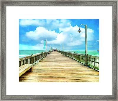 Tybee Island Pier In Watercolor Framed Print by Tammy Wetzel