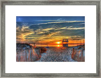 Tybee Island Sunrise With The Life Guard Sled And Sand Dune Fences Art Framed Print