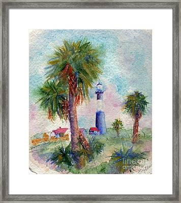 Tybee Lighthouse And Palms Framed Print