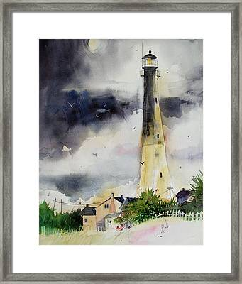 Framed Print featuring the painting Tybee Lighthouse by Gertrude Palmer