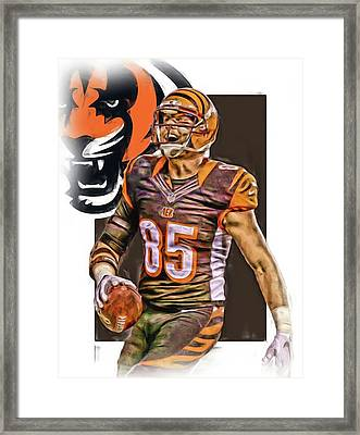 Tyler Eifert Cincinnati Bengals Oil Art Framed Print by Joe Hamilton