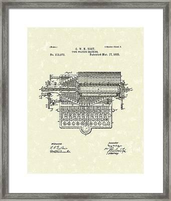 Type Writer 1885 Patent Art Framed Print
