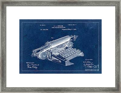 Type Writing Machine Patent From 1896 - Blue Framed Print