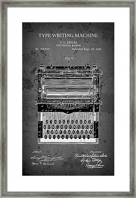 Type Writing Machine Patent 1896 Framed Print