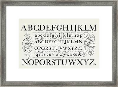 Typefaces From The Script Of George Shelley Framed Print by George Shelley