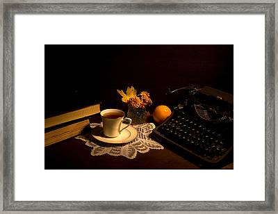 Typewriter And Tea Framed Print by Levin Rodriguez