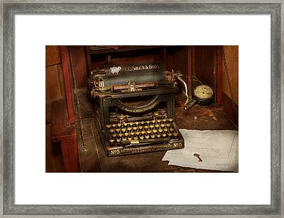 Typewriter - My Bosses Office Framed Print by Mike Savad