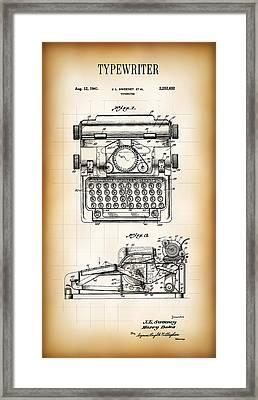 Typewriter Patent 1941 Framed Print by Daniel Hagerman