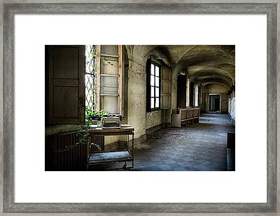 Framed Print featuring the photograph Typewriter Story Of Abandoned Building - Urbex Exploration by Dirk Ercken