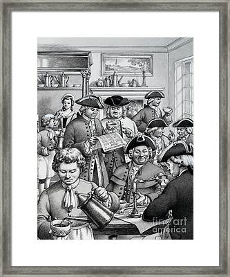 Typical London Coffee House In The 18th Century Framed Print by Pat Nicolle