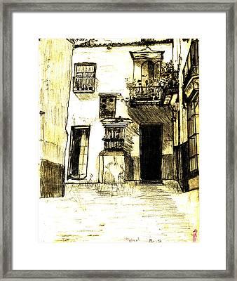 Typical Malaga Framed Print by Linda Hubbard Red Cap Art