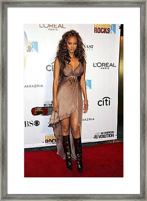 Tyra Banks At Arrivals For Conde Nast Framed Print by Everett