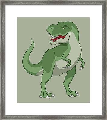 Tyrannosaurus Rex Dinosaur Green Framed Print