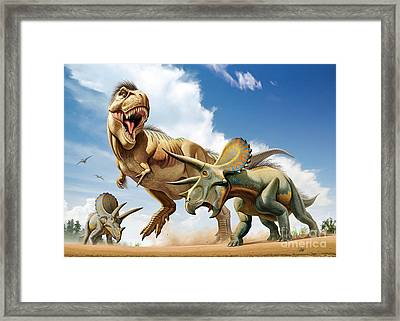 Tyrannosaurus Rex Fighting With Two Framed Print by Mohamad Haghani