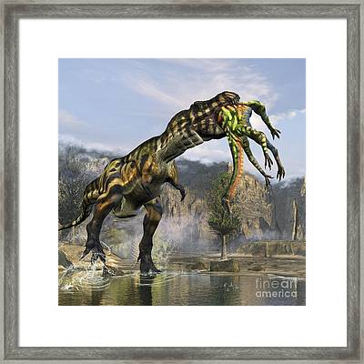 Tyrannosaurus Rex With A Freshly Killed Framed Print by Kurt Miller