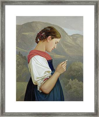 Tyrolean Girl Contemplating A Crucifix Framed Print
