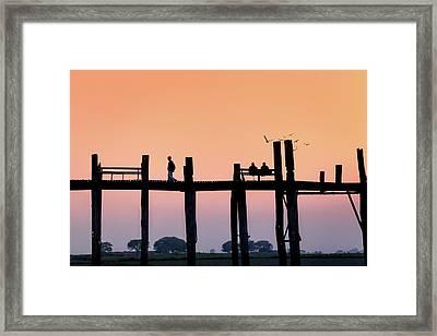 U-bein Bridge At Dawn Framed Print
