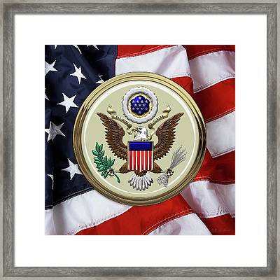 U. S. A. Great Seal Over American Flag Framed Print