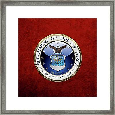 U. S.  Air Force  -  U S A F Emblem Over Red Velvet Framed Print