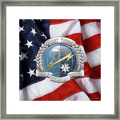 U. S.  Air Force Combat Control Teams - Combat Controller C C T Badge Over American Flag Framed Print by Serge Averbukh