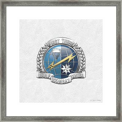 U. S.  Air Force Combat Control Teams - Combat Controller C C T Badge Over White Leather Framed Print by Serge Averbukh