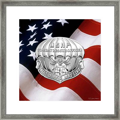 U. S.  Air Force Combat Rescue Officer - C R O Badge Over American Flag Framed Print by Serge Averbukh