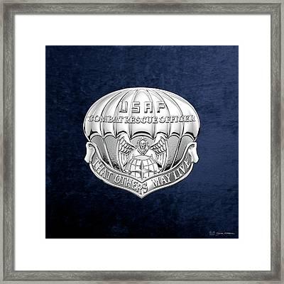 U. S.  Air Force Combat Rescue Officer - C R O Badge Over Blue Velvet Framed Print by Serge Averbukh