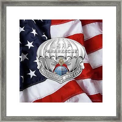 U. S.  Air Force Pararescuemen - P J Badge Over American Flag Framed Print by Serge Averbukh