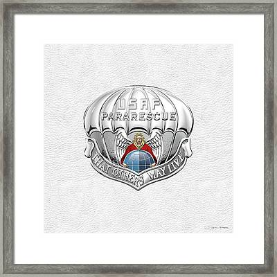 U. S.  Air Force Pararescuemen - P J Badge Over White Leather Framed Print by Serge Averbukh