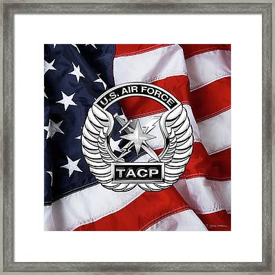 Framed Print featuring the digital art U. S.  Air Force Tactical Air Control Party -  T A C P  Badge Over American Flag by Serge Averbukh