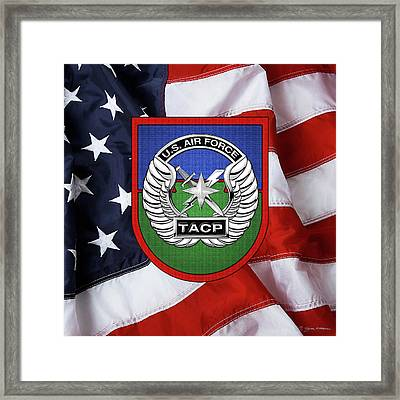 Framed Print featuring the digital art U. S.  Air Force Tactical Air Control Party -  T A C P  Beret Flash With Crest Over American Flag by Serge Averbukh