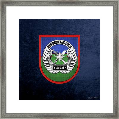Framed Print featuring the digital art U. S.  Air Force Tactical Air Control Party -  T A C P  Beret Flash With Crest Over Blue Velvet by Serge Averbukh