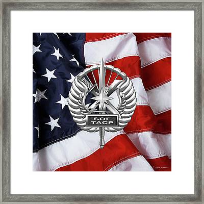 Framed Print featuring the digital art U. S.  Air Force Tactical Air Control Party - Usaf Special Tactics Tacp Badge Over American Flag by Serge Averbukh