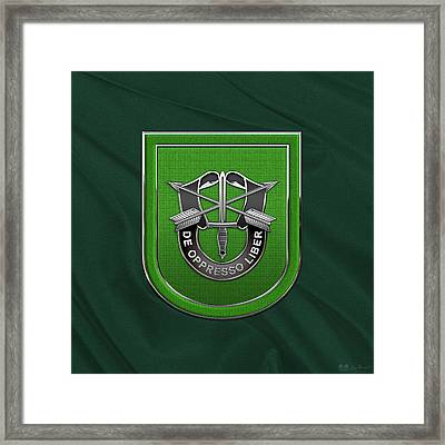 U. S.  Army 10th Special Forces Group - 10 S F G  Beret Flash Over Green Beret Felt Framed Print by Serge Averbukh
