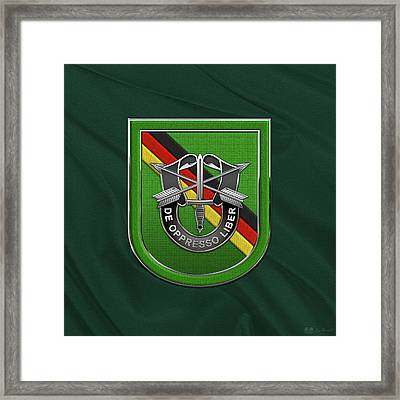 U. S.  Army 10th Special Forces Group Europe - 10 S F G  Beret Flash Over Green Beret Felt Framed Print by Serge Averbukh