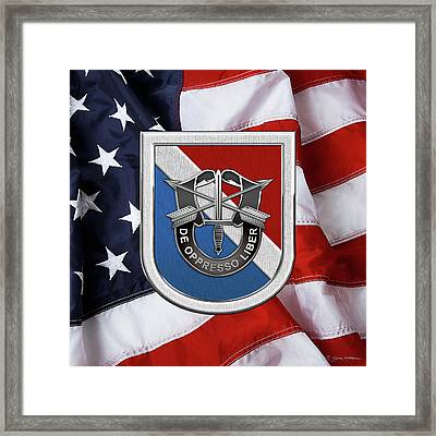 U. S.  Army 11th Special Forces Group - 11 S F G  Beret Flash Over American Flag Framed Print by Serge Averbukh
