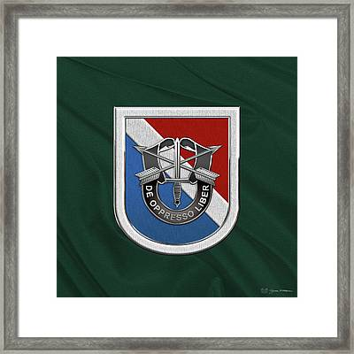 U. S.  Army 11th Special Forces Group - 11 S F G  Beret Flash Over Green Beret Felt Framed Print by Serge Averbukh